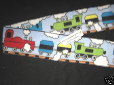 Train blue engine and cars child BLUE fleece scarf