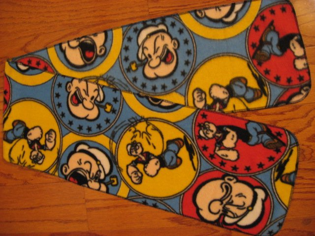 Popeye the Sailor man blue fleece scarf