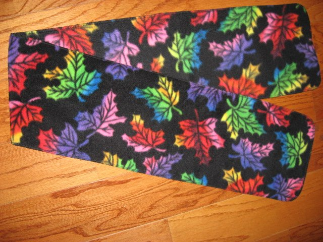 Neon colored Fall Leafs Black fleece scarf