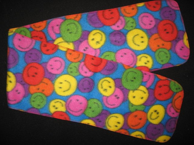 Retro Look Smiley smile face colorful child  fleece scarf