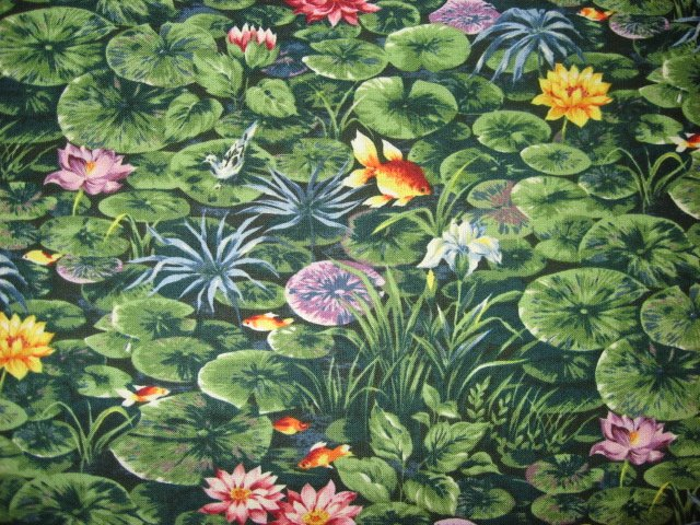 Image 0 of Goldfish with lily pads in a pond Cotton quilt fabric By the Yard