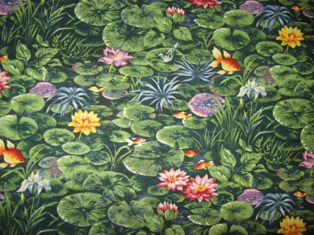 Image 1 of Goldfish with lily pads in a pond Cotton quilt fabric By the Yard
