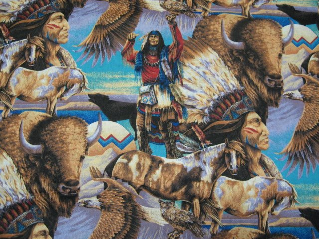 Image 0 of Indian Eagle and buffalo soft sewing cotton Fabric By The Yard