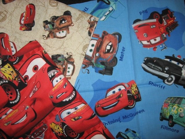 Disney Pixar Cars set of 3 fat quarters quilting  sewing cotton 18 X 22 each