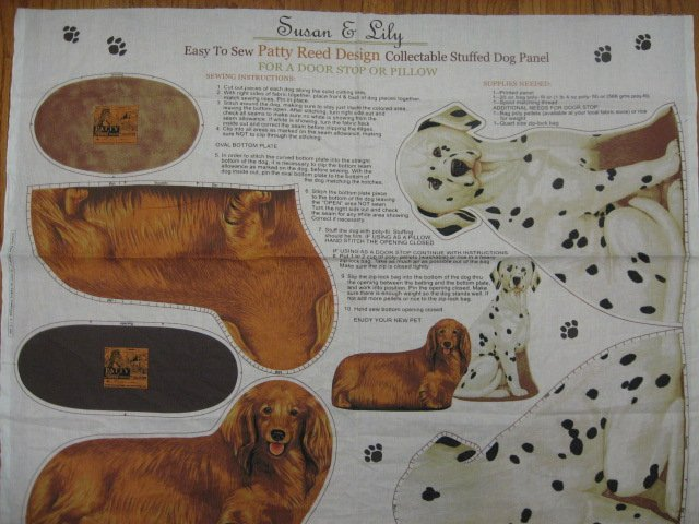 Dalmatian and dachshund dog Cotton Fabric doorstop or Panel to sew /