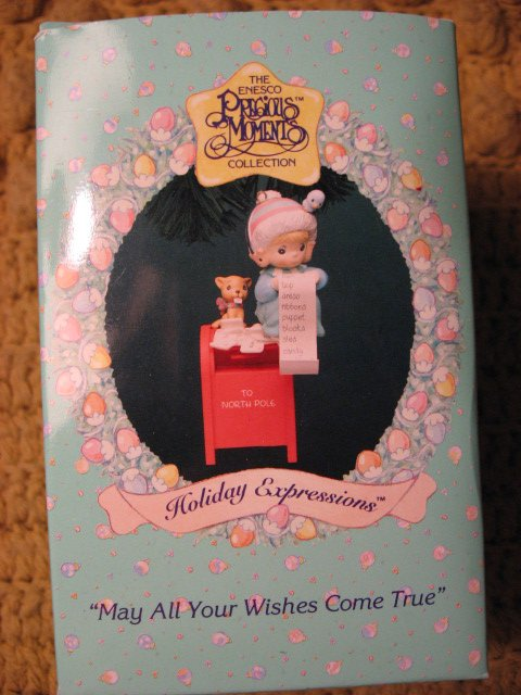 Girl Ornament Precious Moments Christmas Wishes List 1994