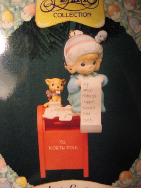 Image 1 of Girl Ornament Precious Moments Christmas Wishes List 1994