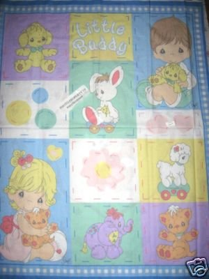 Little buddy Boy and girl Precious Moments  Crib Quilt Fabric Panelto sew