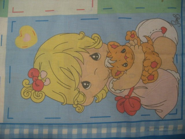 Image 1 of Buddy Boy and girl Precious Moments Vintage Fabric Panel to sew