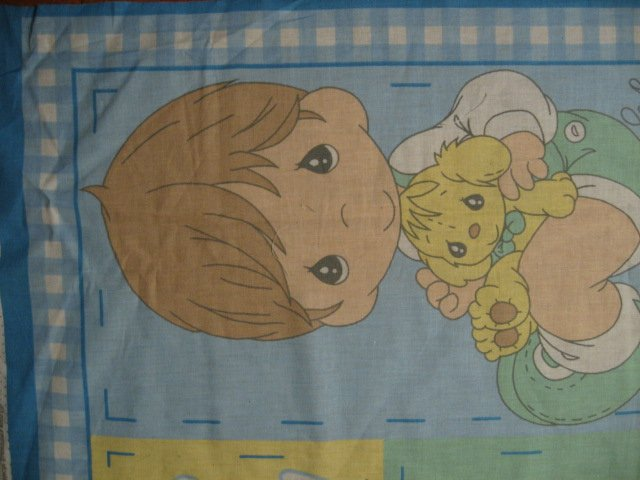 Image 2 of Buddy Boy and girl Precious Moments Vintage Fabric Panel to sew