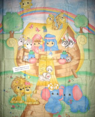 Noah's Ark Precious Moments Crib Quilt Fabric Panel to sew