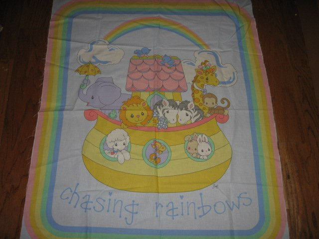 Image 0 of Noah's Ark Precious Moments Vintage Fabric Panel to sew rare