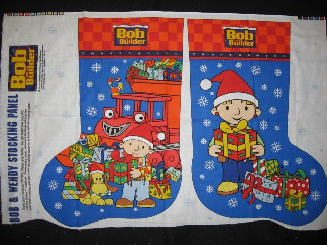 Bob the Builder fabric Christmas stocking to sew large size