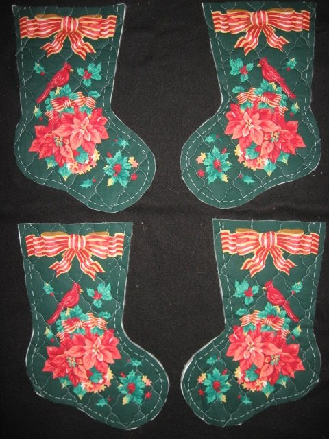 Cardinal birds 4 pieces Prequilted fabric Christmas stockings to sew