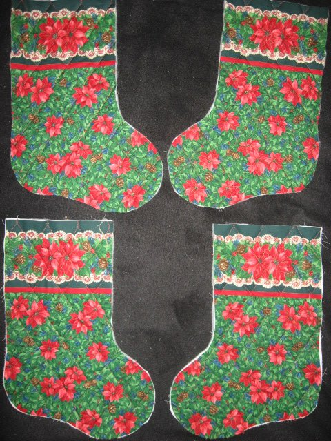 Pine Cone Pointsettia 4 pieces Prequilted fabric Christmas stockings to sew