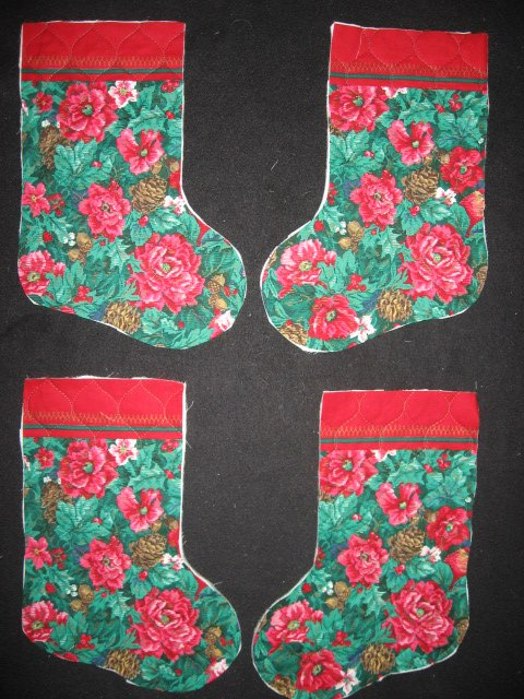 Image 0 of Pine Cone Rose 4 pieces Prequilted fabric Christmas stockings to sew