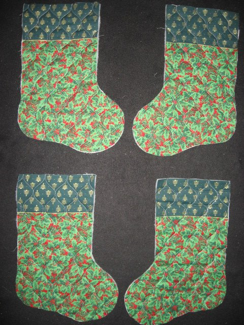 Trees and Holly 4 pieces Prequilted fabric Christmas stockings to sew