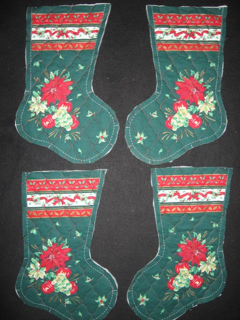 Image 0 of Chrysanthemum and apple 4 pieces Prequilted fabric Christmas stockings to sew