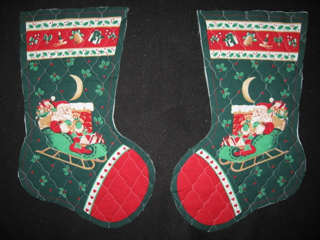Santa and sleigh 2 pieces 16 Prequilted fabric Christmas stockings to sew