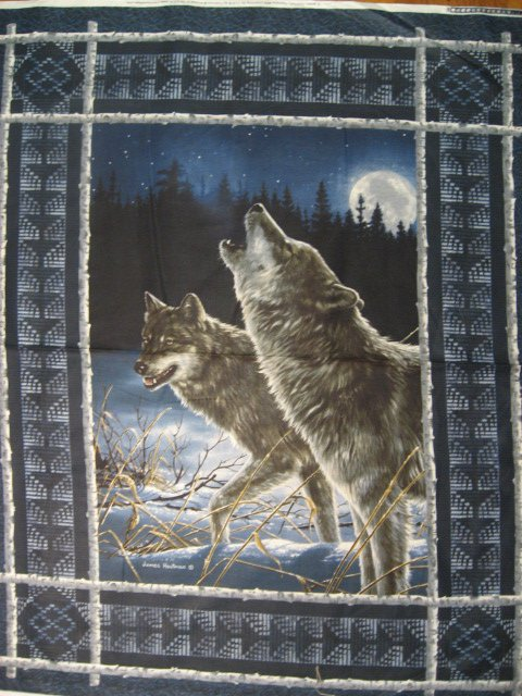 Image 0 of Hautman Wolf Wolves Cotton Fabric Wall quilt throw Panel rare to sew //