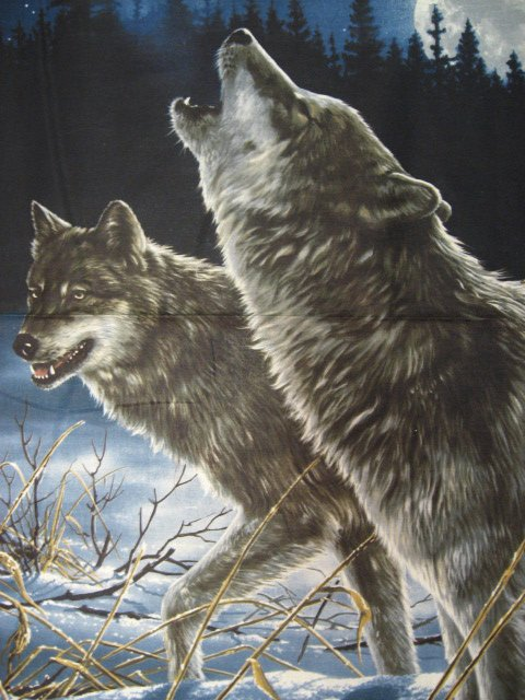 Image 1 of Hautman Wolf Wolves Cotton Fabric Wall quilt throw Panel rare to sew //