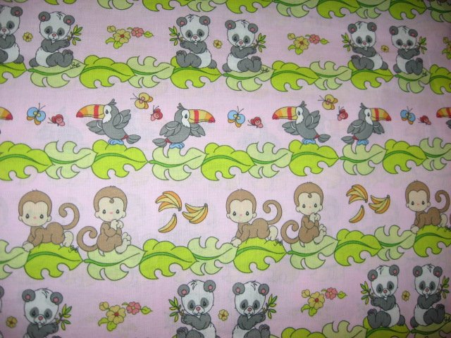 Toucan Monkey Panda Precious Moments  pink Stripe Fabric by the yard