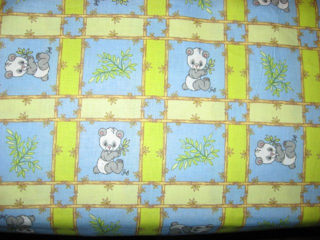 Panda Precious Moments cotton Fabric blue and green squares by the yard
