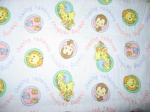 Giraffe Monkey Lion Circle Precious Moments  blue fabric by the yard
