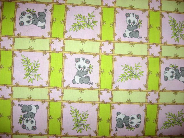 Panda Precious Moments  pink and green Squares Fabric by the yard