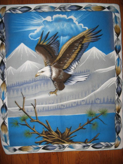 Eagle trees Mountains fleece blanket