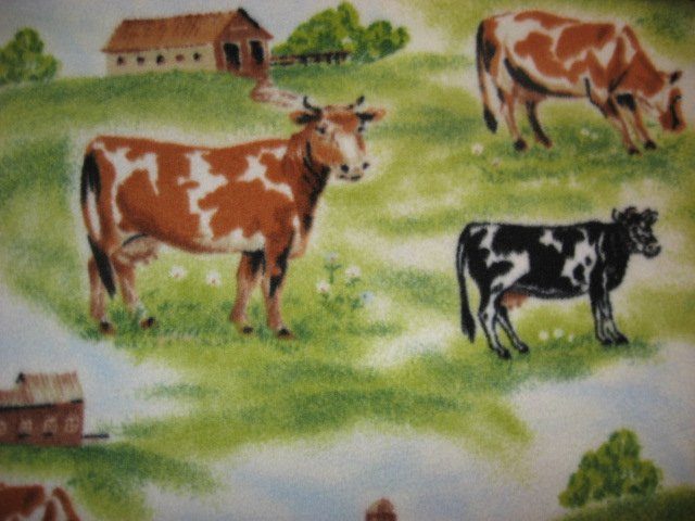 Cow Fleece Blanket Throw with Pasture Farm and Barn