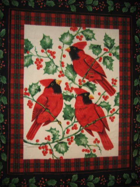 Cardinal and Holly berries Winter Antipill Fleece Blanket  70 bed size
