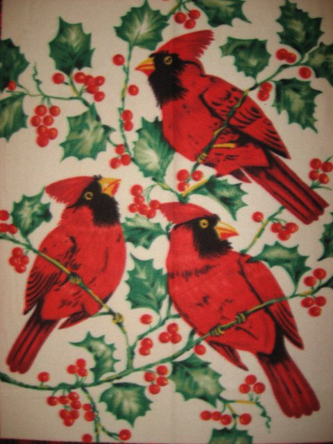 Image 2 of Cardinal and Holly berries Winter Antipill Bed Size Fleece Blanket