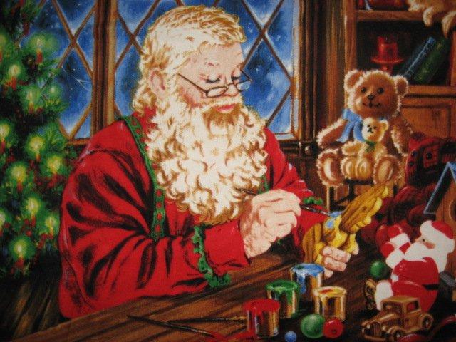 Image 1 of Christmas Santa toys Large soft fleece blanket 50