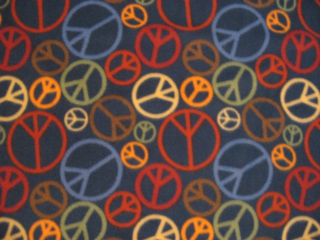 Peace Sign Navy Fleece Bed Blanket retro look finished edge 72 long