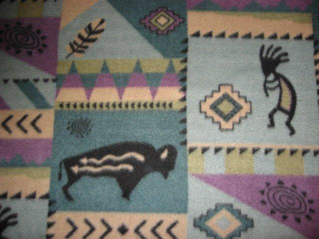 Kokopelli Flute Buffalo blue and lilac Fleece Fabric Blanket