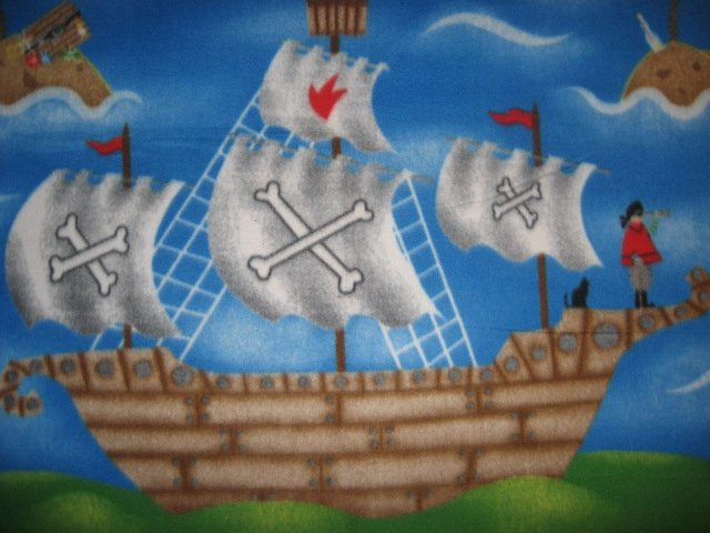 Image 1 of Pirate Ship Telescope Cat Ocean Fleece Blanket throw for Child