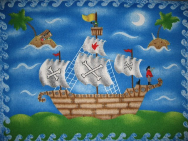 Image 0 of Pirate Ship Telescope Cat Ocean Fleece Blanket throw for Child