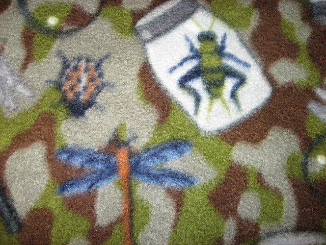 Image 1 of Cricket Bee LadyBug Magnify camouflage fleece blanket 45