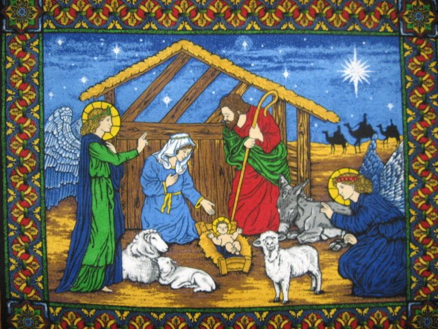 Image 0 of Nativity Stable Birth Jesus Fleece Blanket Throw Panel with finished edges