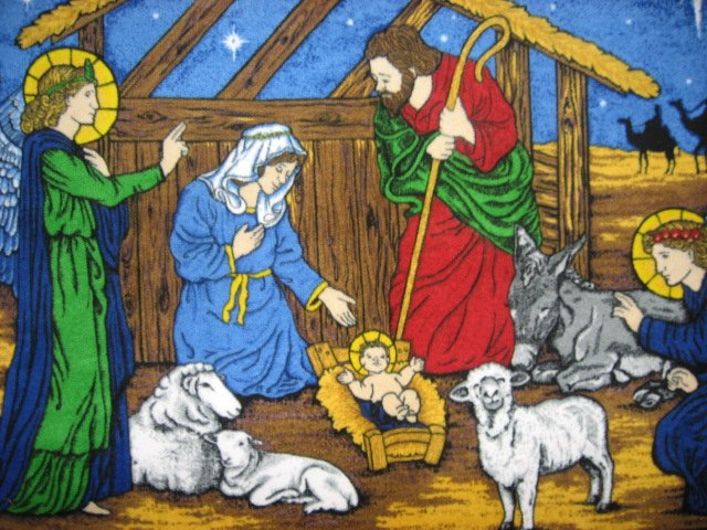 Image 1 of Nativity Stable Birth Jesus Fleece Blanket Throw Panel with finished edges