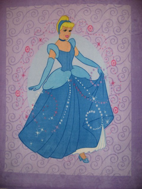 Lilac Disney Cinderella Princess child bed size fleece blanket Panel Throw