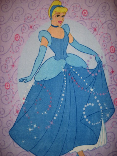 Image 1 of Lilac Disney Cinderella Princess child bed size fleece blanket Panel Throw
