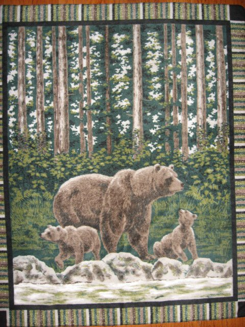 Mother Bear cubs  river LIGHTWEIGHT Fleece Blanket Throw with finished edges