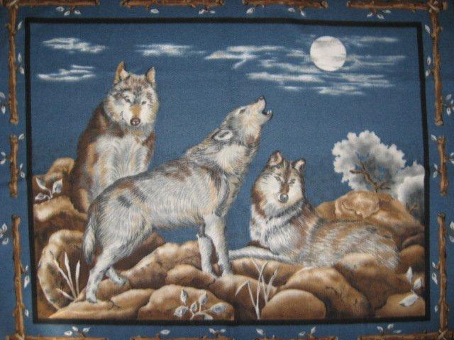 Wolf Wolves Moon Southwest Fleece blanket