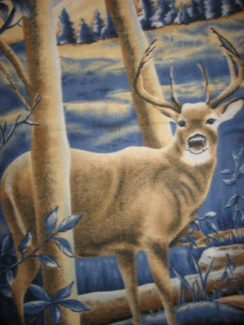 Deer Buck in woods Hunting Fleece Blanket