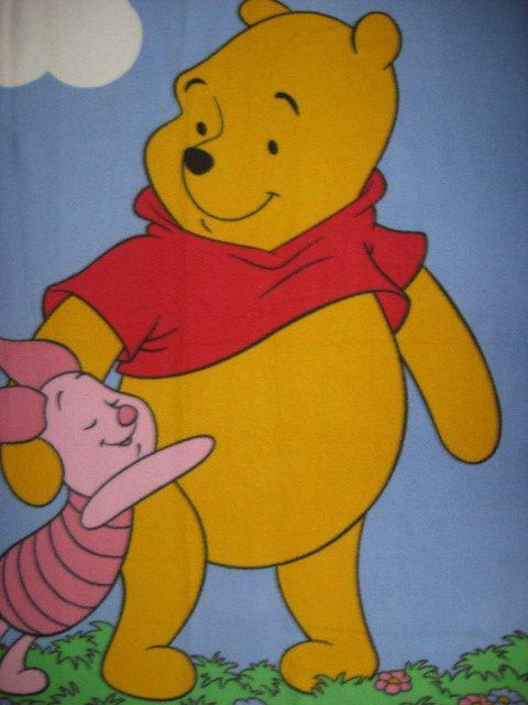 Image 1 of Winnie the Pooh and Piglet Child bed or crib Fleece Blanket /
