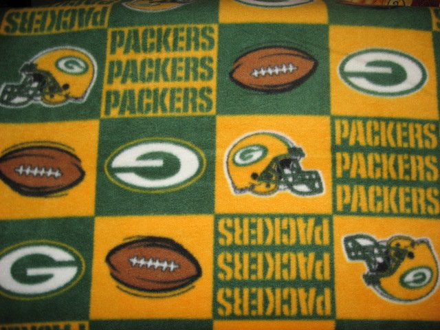 Green Bay Packers Football Fleece Blanket hand made with licensed fleece