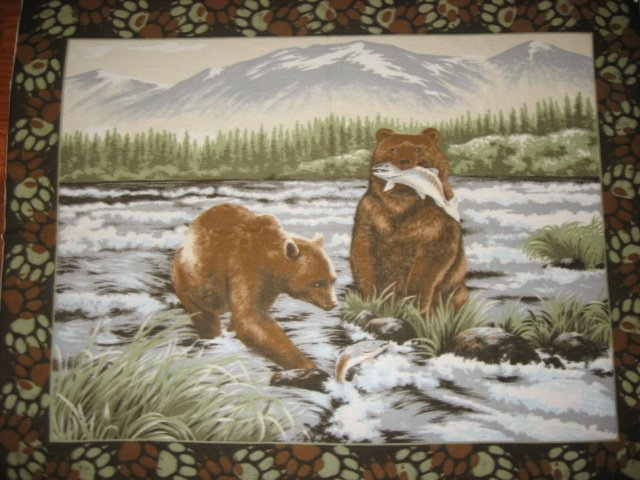 Bear Salmon and fish in the river Panel Fleece blanket Panel 72 Wide bed size