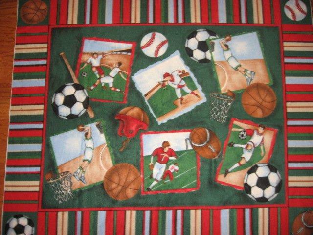 Baseball Soccer Football Basketball Sports Panel Fleece Bed Blanket 60 X 72